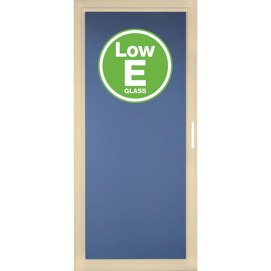 Shop pella select poplar white full view aluminum standard for Storm door window