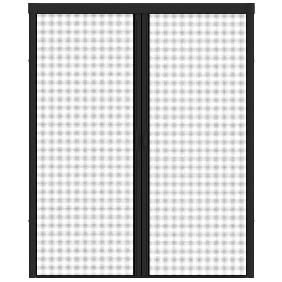 LARSON Escape Black Aluminum Retractable Curtain Screen Door (Common: 96 In  X 93