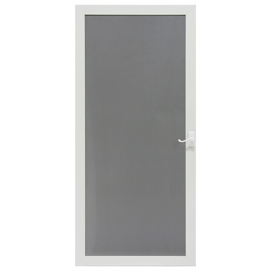 Shop Larson Pembrook White Aluminum Hinged Screen Door Common 32