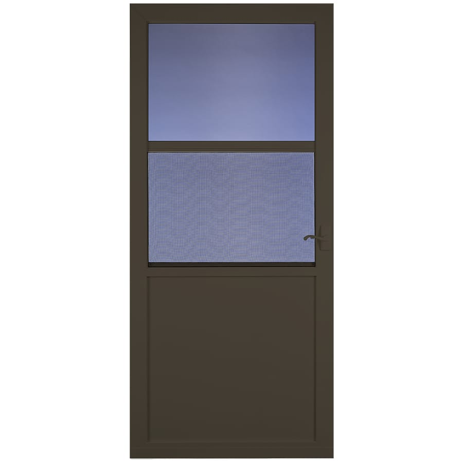 LARSON Northport Brown High-View Aluminum Self-Storing Storm Door (Common: 36-in x 81-in; Actual: 35.75-in x 79.75-in)