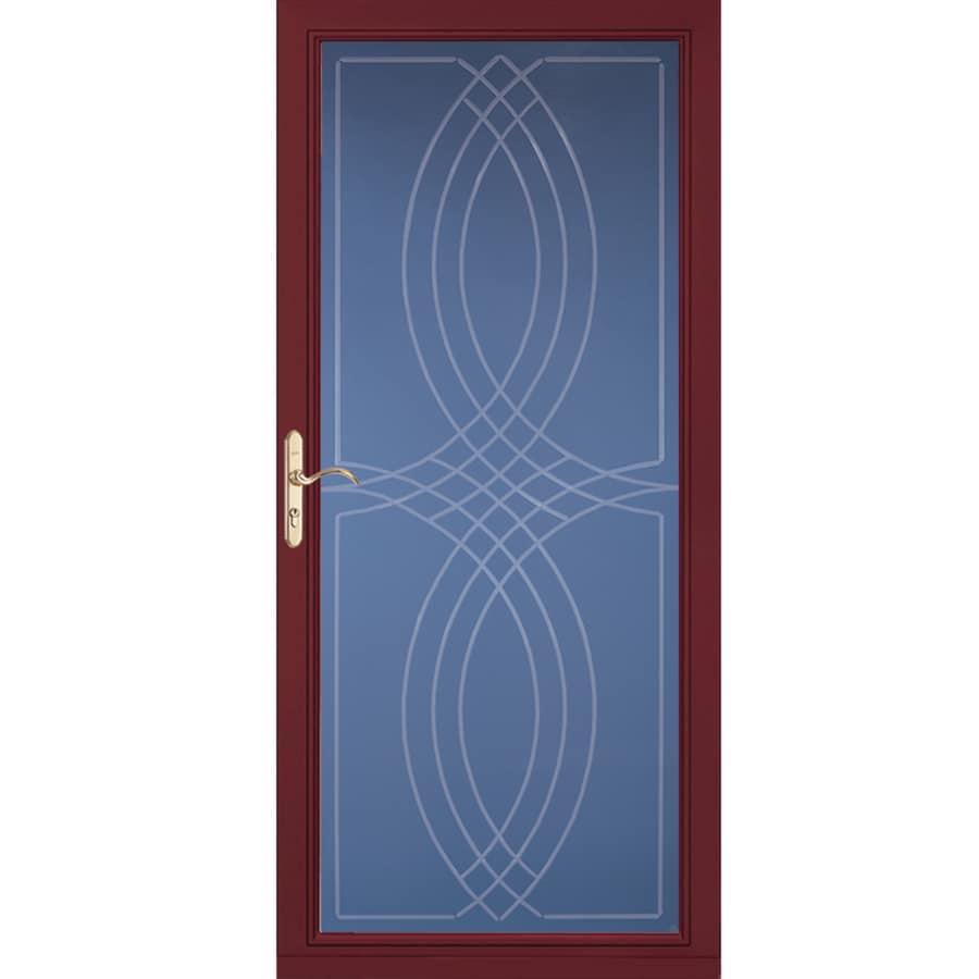 Pella Select Cranberry Full-View Aluminum Standard Storm Door (Common: 36-in x 81-in; Actual: 35.75-in x 79.875-in)