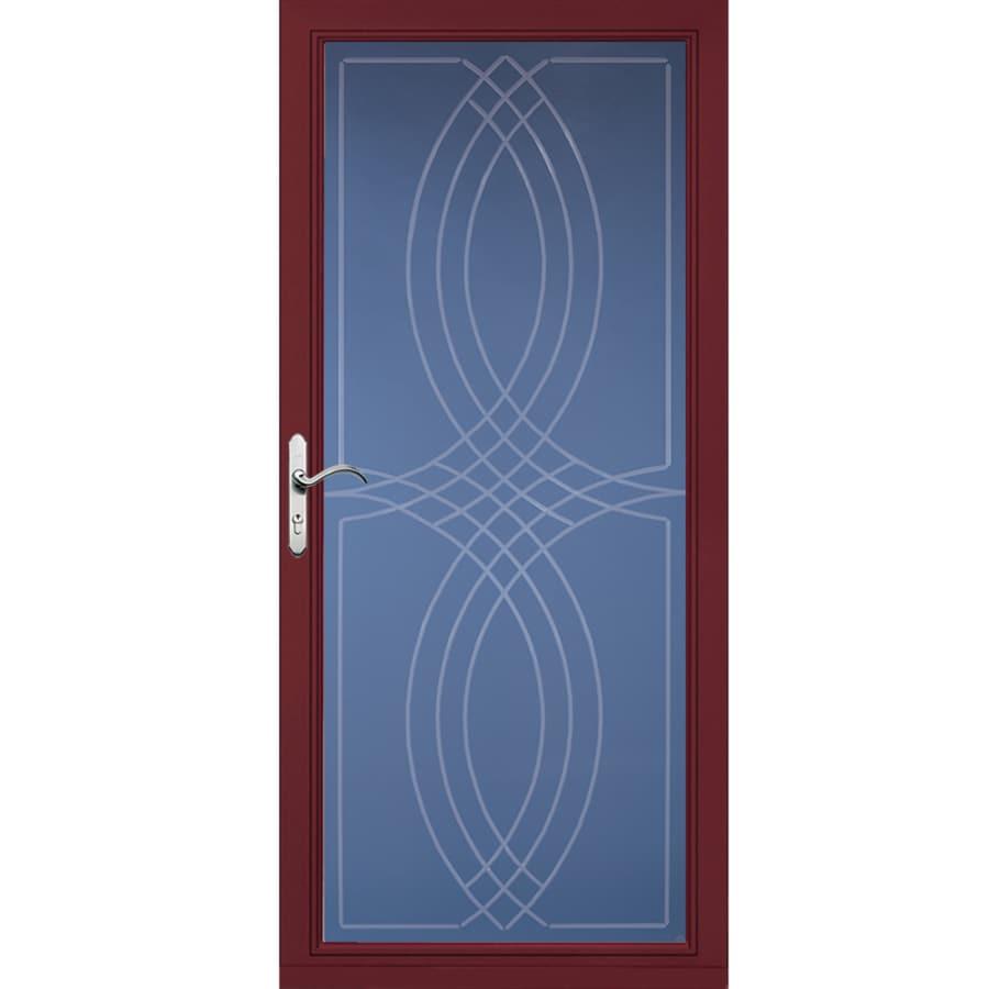 Shop pella select cranberry full view aluminum standard for Storm door manufacturers