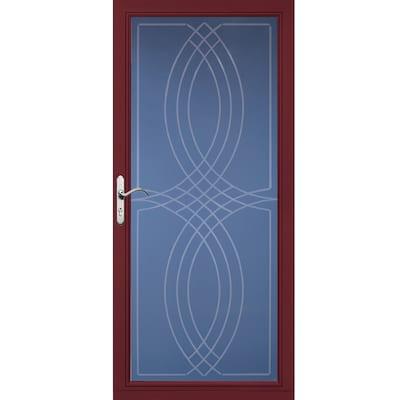 Pella Select Cranberry Full-View Aluminum Storm Door (Common