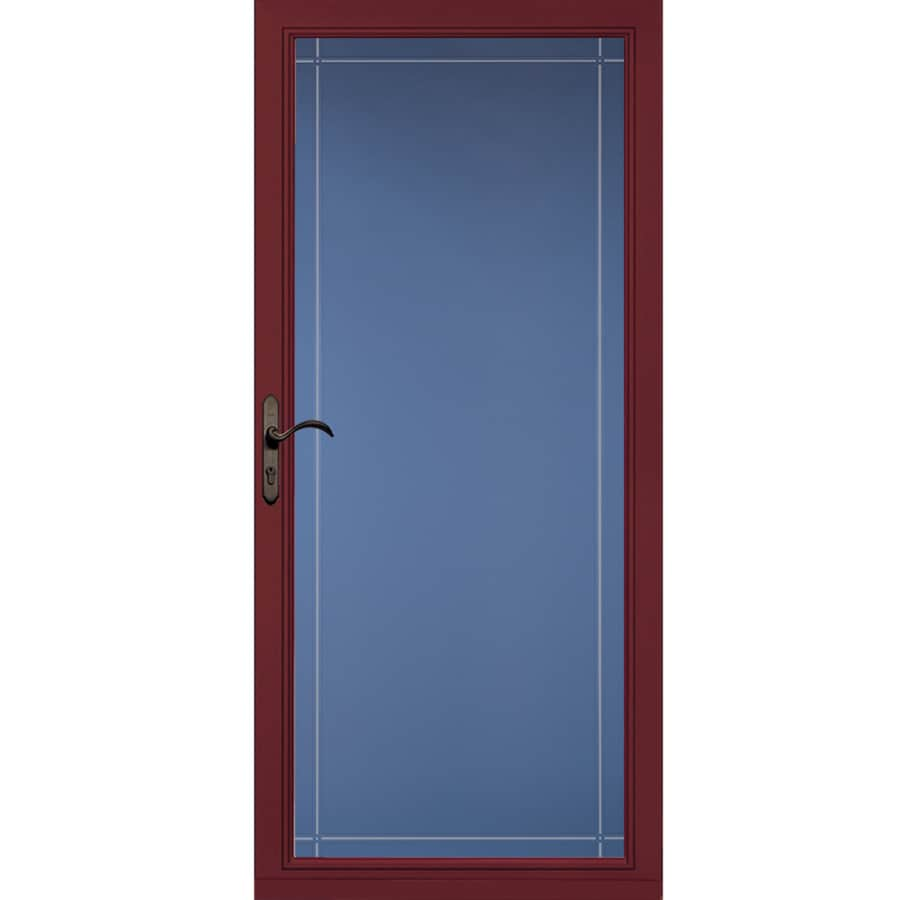 Shop pella select cranberry full view aluminum standard for Storm door window