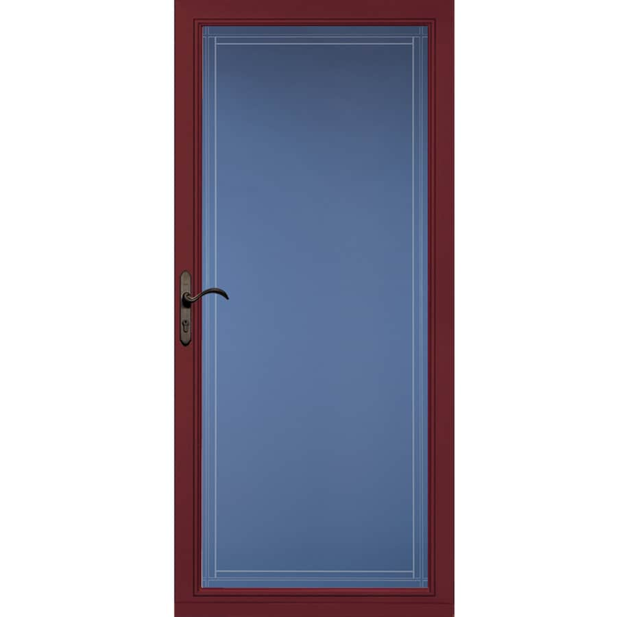 Pella Select Cranberry Full-View Aluminum Standard Storm Door (Common: 36-in x 81-in; Actual: 35.75-in x 79.875-in)