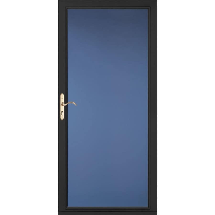 Shop pella select low e black full view aluminum standard for Storm door manufacturers