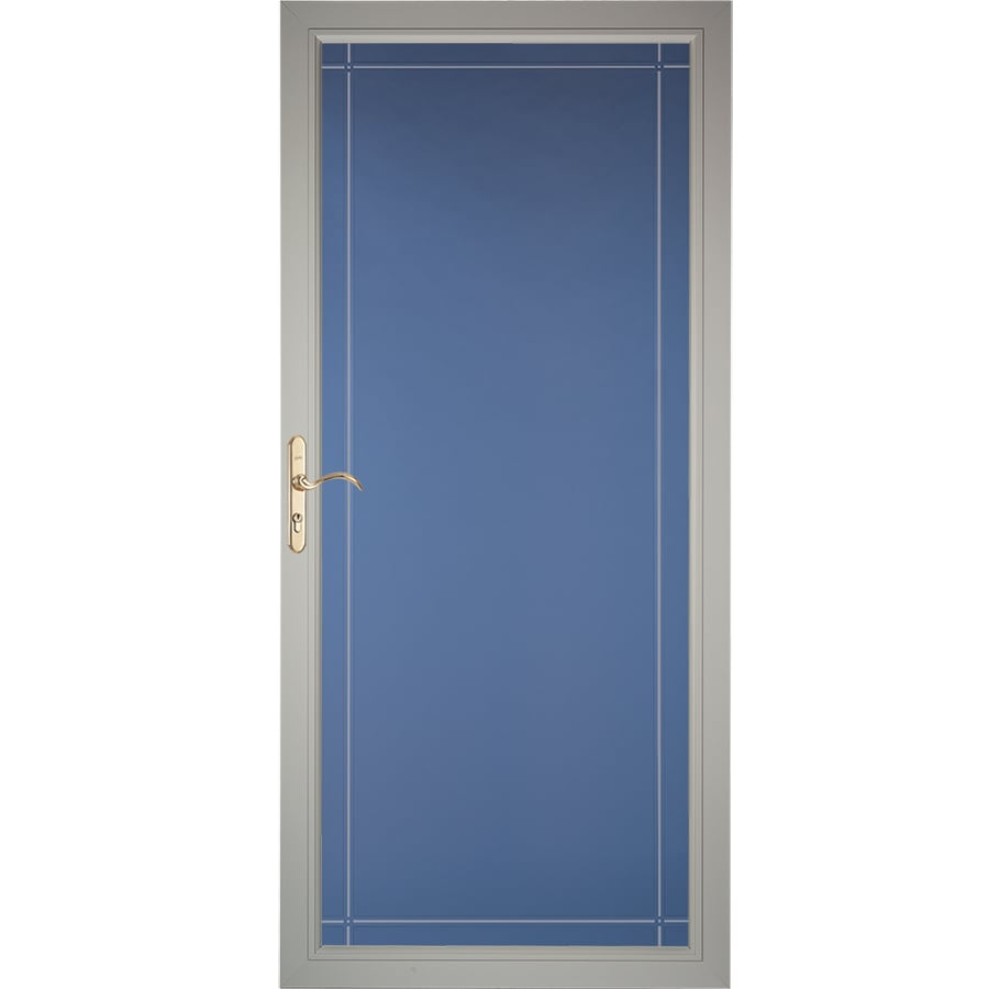 Pella Select Morning Sky Gray Full-View Aluminum Standard Storm Door (Common: 36-in x 81-in; Actual: 35.75-in x 79.875-in)