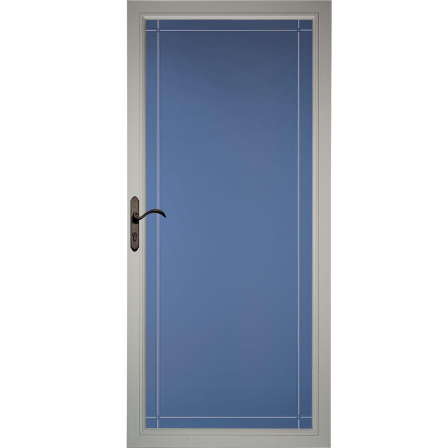 Pella Select Morning Sky Gray Full-View Aluminum Standard Storm Door (Common: 36-in x 81-in; Actual: 35.75-in x 79.875-in)