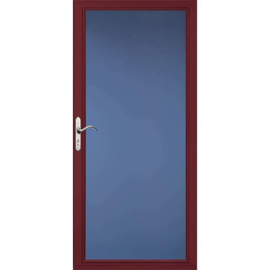 Pella Select Low-E Cranberry Full-View Aluminum Standard Storm Door (Common: 32-in x 81-in; Actual: 31.75-in x 79.875-in)