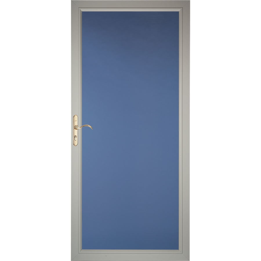 Pella Select Morning Sky Gray Full-View Aluminum Storm Door (Common: 32-in x 81-in; Actual: 31.75-in x 79.875-in)