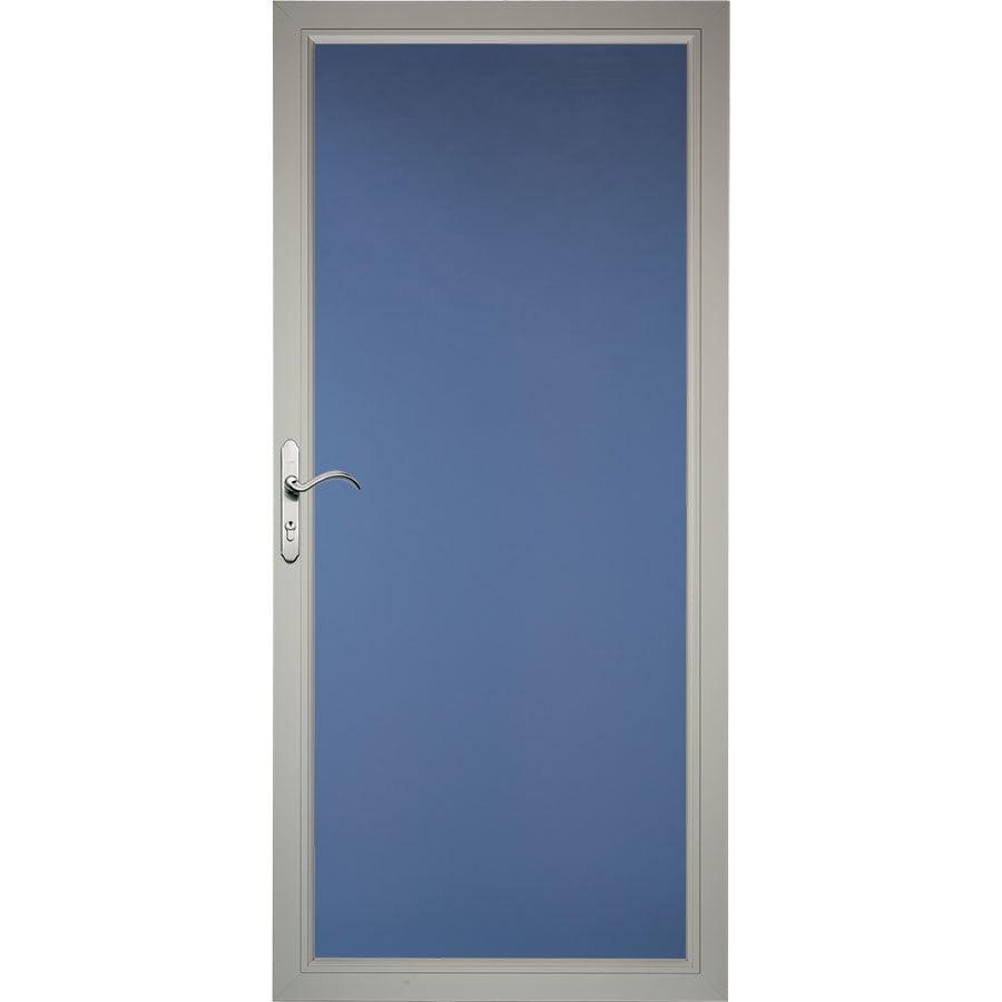 Pella Select Morning Sky Gray Full-View Aluminum Storm Door (Common: 32-in x 81-in; Actual: 31.75-in x 79.875-in)