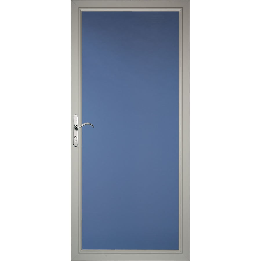 Pella Select Low-E Morning Sky Gray Full-View Aluminum Standard Storm Door (Common: 32-in x 81-in; Actual: 31.75-in x 79.875-in)