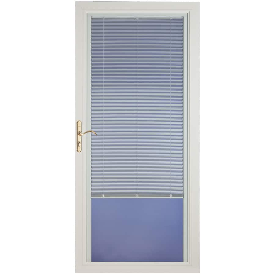 Pella Select White Full-View Aluminum Storm Door with Blinds Between The Glass (Common: 32-in x 81-in; Actual: 31.75-in x 79.875-in)