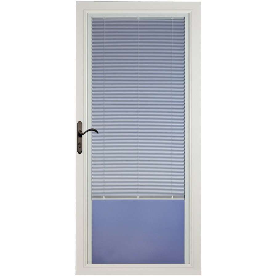 Shop pella select white full view aluminum storm door with for Storm door window