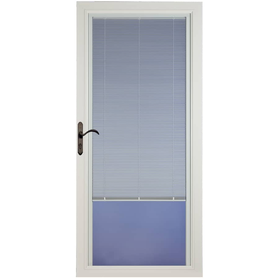 Pella Select White Full-View Aluminum Storm Door with Blinds Between The Glass (Common: 36-in x 81-in; Actual: 35.75-in x 79.875-in)