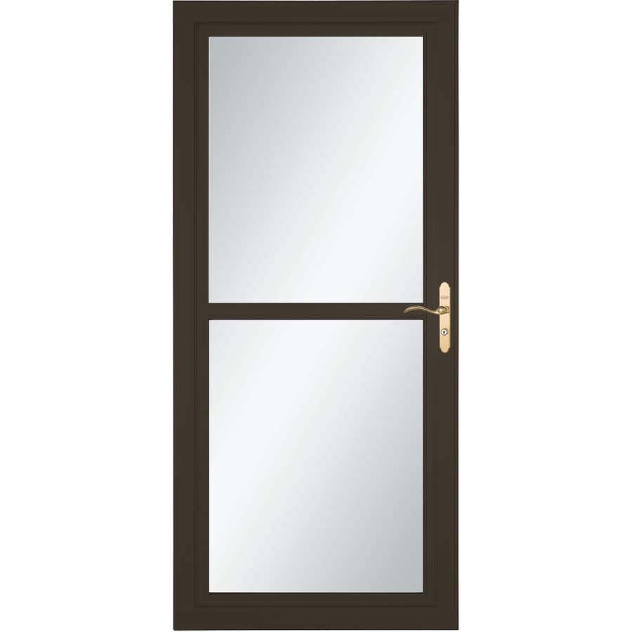LARSON Tradewind Selection Brown Full-View Tempered Glass Retractable Storm Door (Common: 36-in x 81-in; Actual: 35.75-in x 79.75-in)