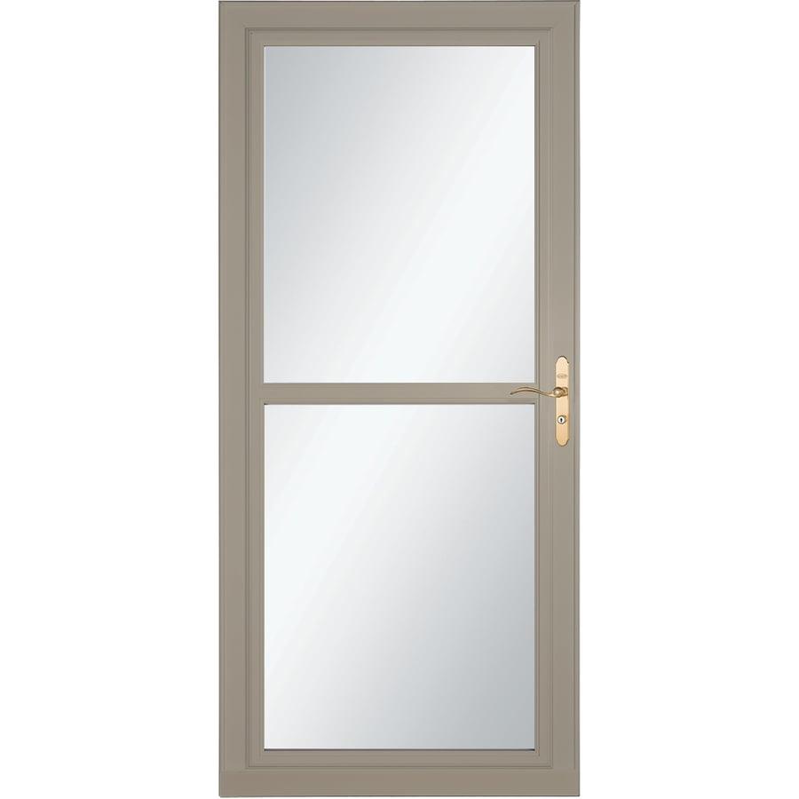 LARSON Tradewind Selection Sandstone Full-View Tempered Glass Retractable Storm Door (Common: 36-in x 81-in; Actual: 35.75-in x 79.75-in)
