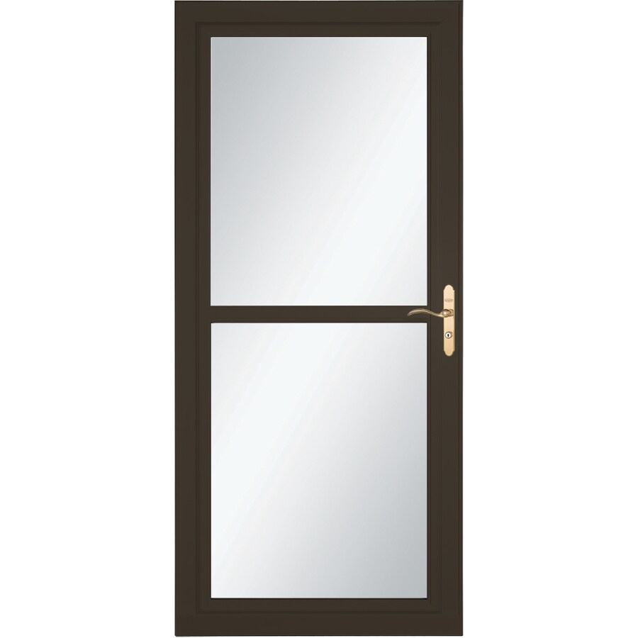 LARSON Tradewind Selection Brown Full-View Aluminum Storm Door with Retractable Screen (Common: 32-in x 81-in; Actual: 31.75-in x 79.75-in)
