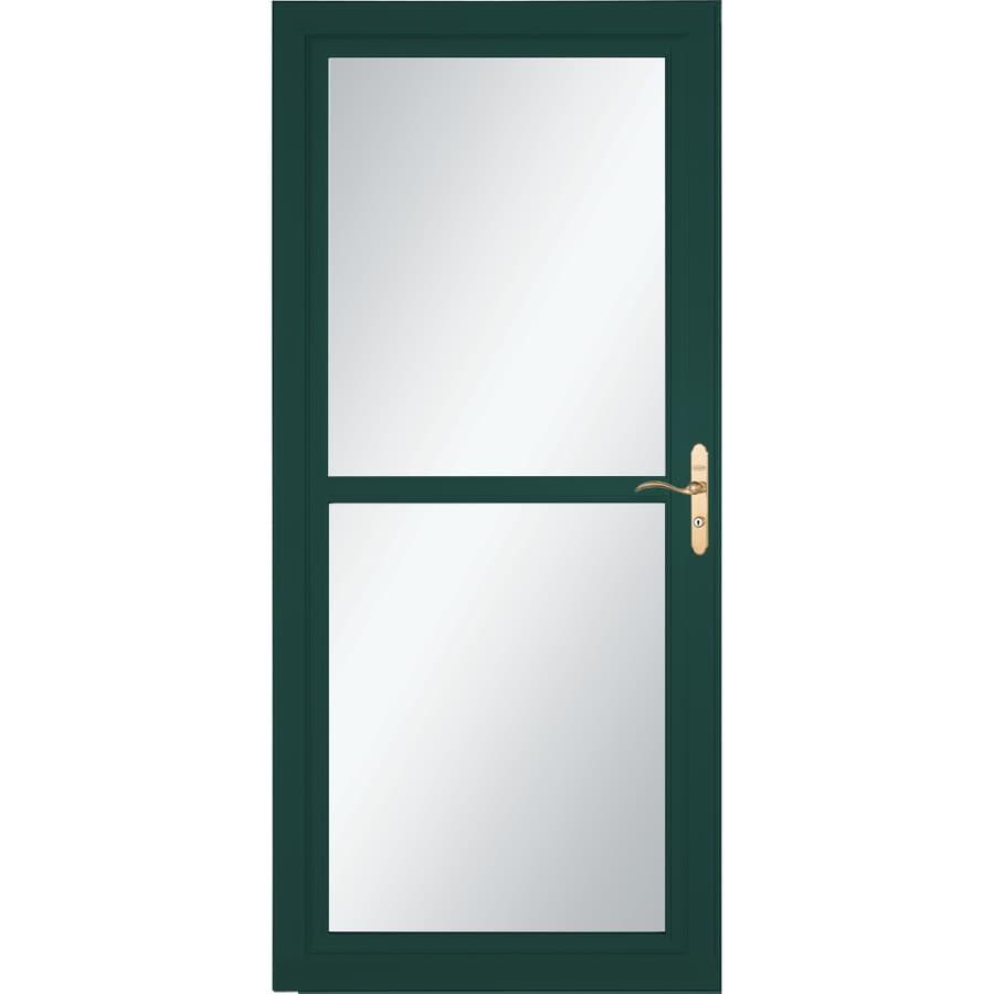 LARSON Tradewind Selection Green Full-View Tempered Glass Retractable Storm Door (Common: 32-in x 81-in; Actual: 31.75-in x 79.75-in)