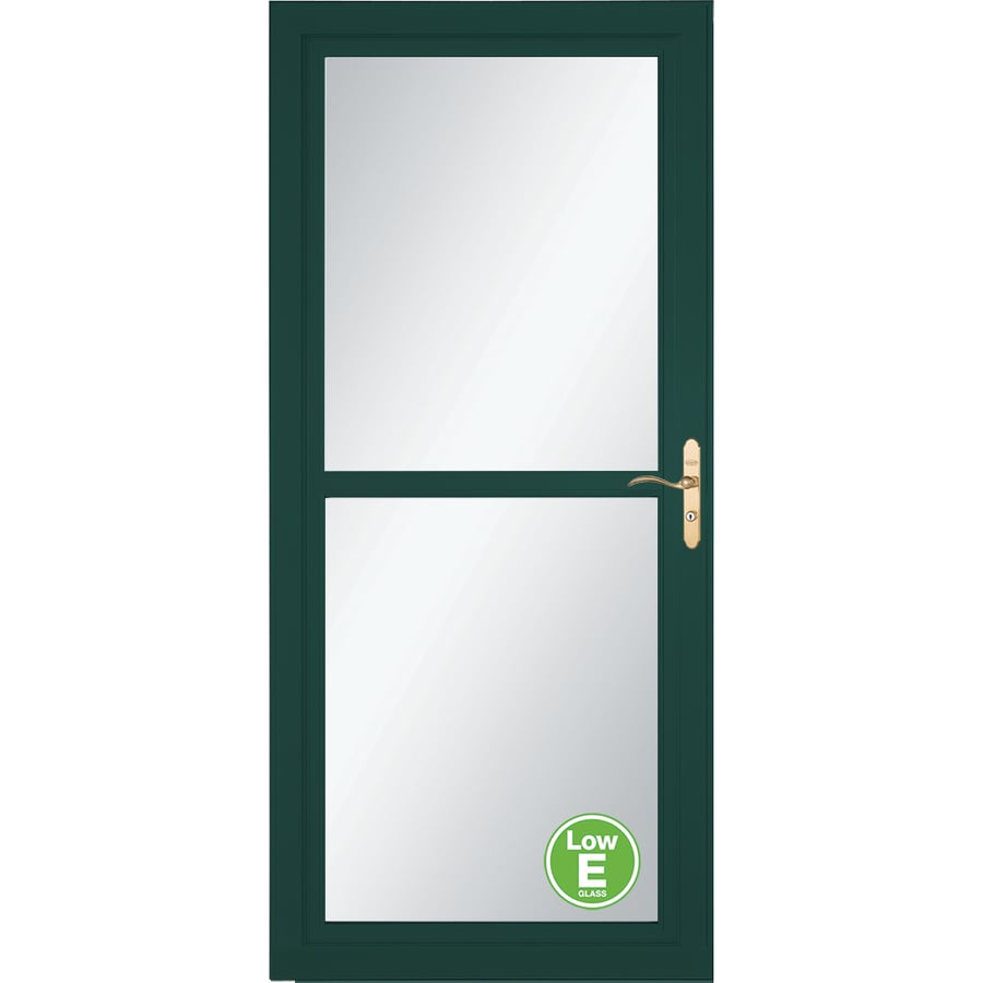 LARSON Tradewind Selection Green Full-View Aluminum Storm Door with Retractable Screen (Common: 36-in x 81-in; Actual: 35.75-in x 79.75-in)
