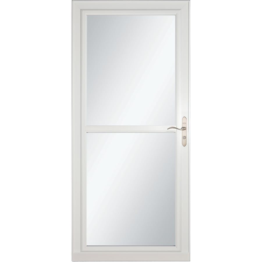 LARSON Tradewind Selection White Full-View Tempered Glass Retractable Storm Door (Common: 36-in x 81-in; Actual: 35.75-in x 79.75-in)
