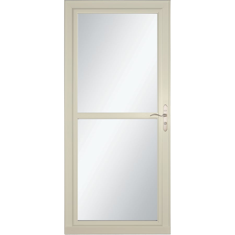 LARSON Tradewind Selection Almond Full-View Tempered Glass Retractable Storm Door (Common: 36-in x 81-in; Actual: 35.75-in x 79.75-in)