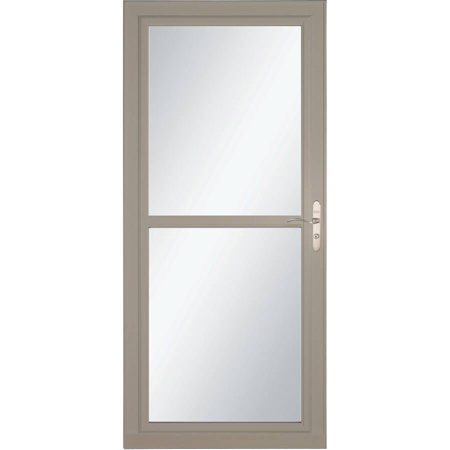LARSON Tradewind Selection Sandstone Full-View Aluminum Storm Door with Retractable Screen (Common: 32-in x 81-in; Actual: 31.75-in x 79.75-in)