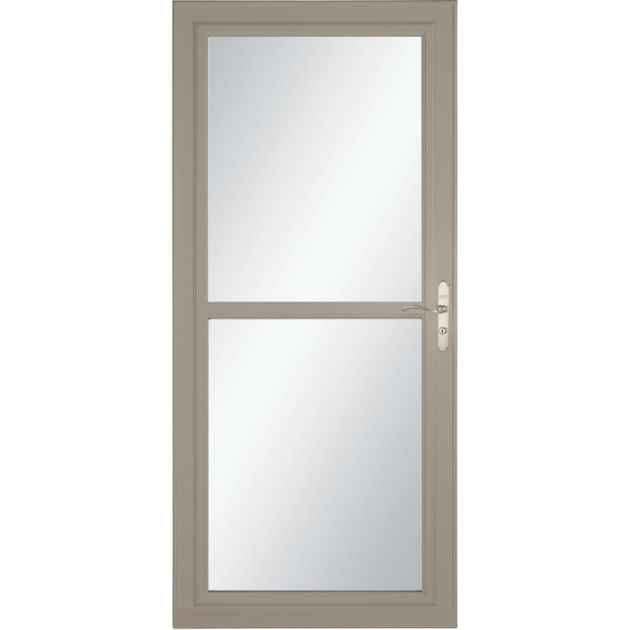 LARSON Tradewind Selection Sandstone Full-View Aluminum Storm Door with Retractable Screen (Common: 36-in x 81-in; Actual: 35.75-in x 79.75-in)