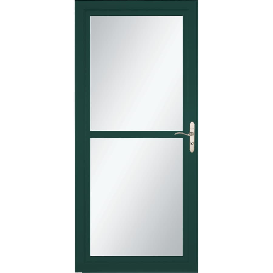 LARSON Tradewind Selection Green Full-View Tempered Glass Retractable Storm Door (Common: 32-in x 81-in; Actual: 31.75-in x 79.75-in)