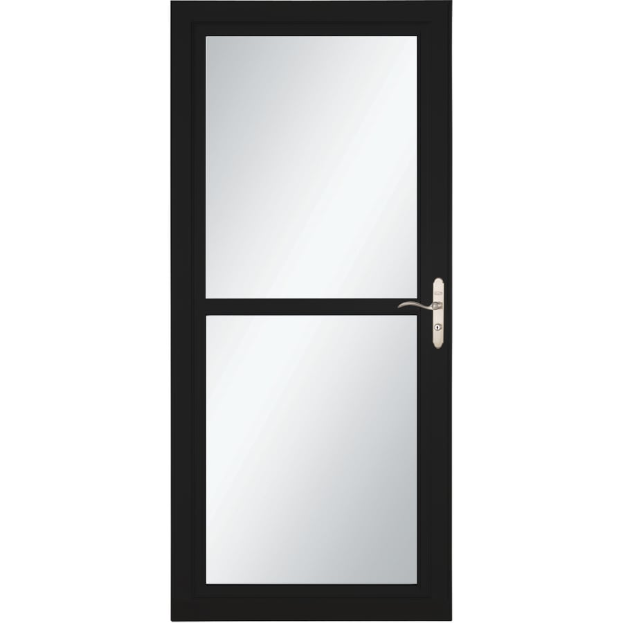 LARSON Tradewind Selection Black Full-View Tempered Glass Retractable Storm Door (Common: 32-in x 81-in; Actual: 31.75-in x 79.75-in)
