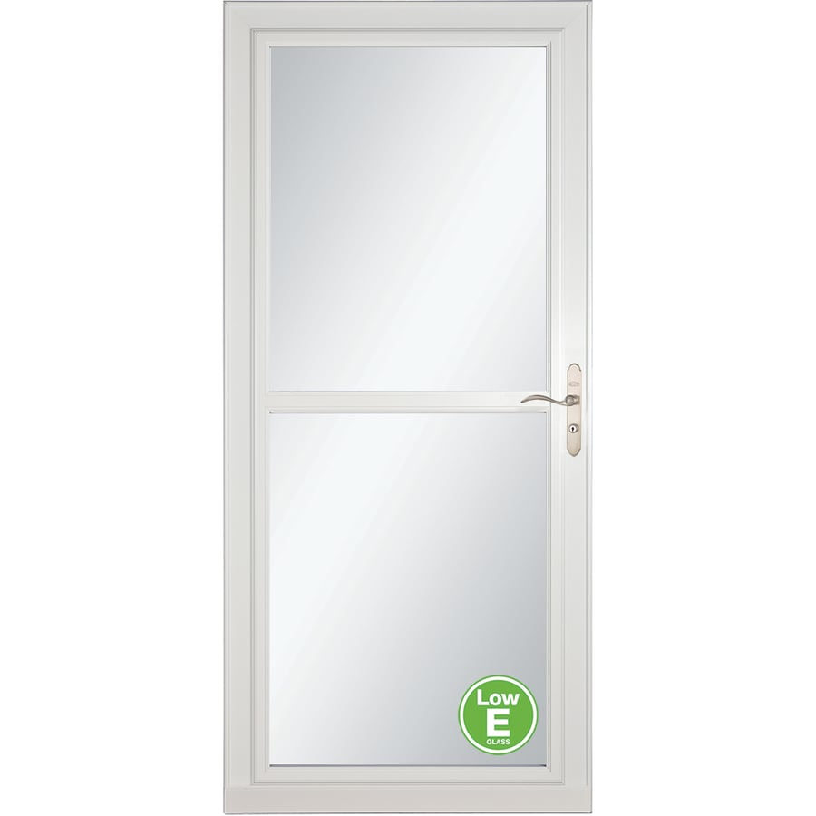 LARSON Tradewinds Low-E White Full-View Aluminum Storm Door with Retractable Screen (Common: 32-in x 81-in; Actual: 31.75-in x 79.75-in)