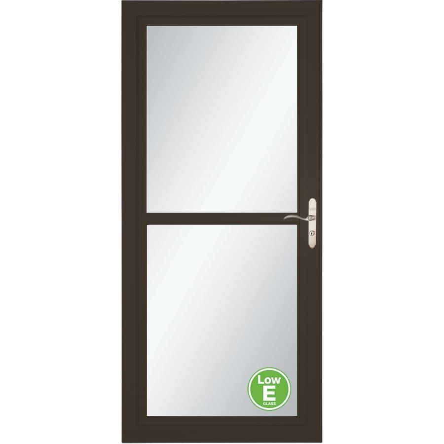 LARSON Tradewinds Low-E Brown Full-View Aluminum Storm Door with Retractable Screen (Common: 32-in x 81-in; Actual: 31.75-in x 79.75-in)