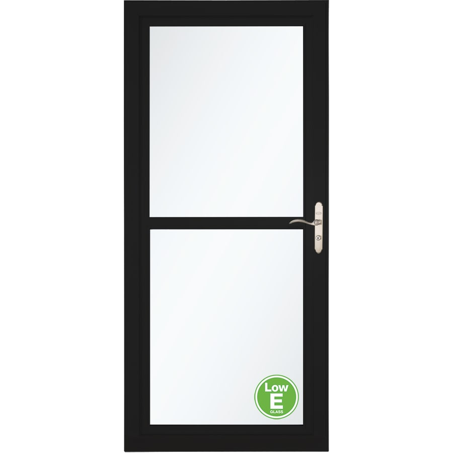 LARSON Tradewinds Low-E Black Full-View Aluminum Storm Door with Retractable Screen (Common: 32-in x 81-in; Actual: 31.75-in x 79.75-in)