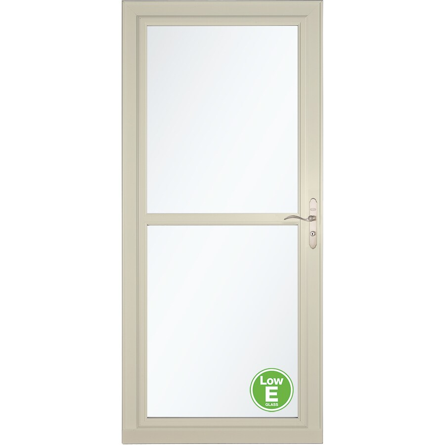 LARSON Tradewinds Low-E Almond Full-View Aluminum Storm Door with Retractable Screen (Common: 32-in x 81-in; Actual: 31.75-in x 79.75-in)