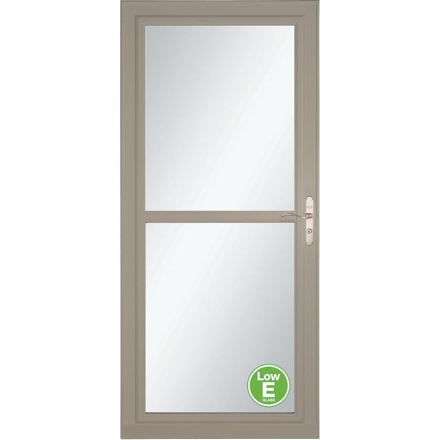 LARSON Tradewinds Low-E Sandstone Full-View Aluminum Storm Door with Retractable Screen (Common: 32-in x 81-in; Actual: 31.75-in x 79.75-in)