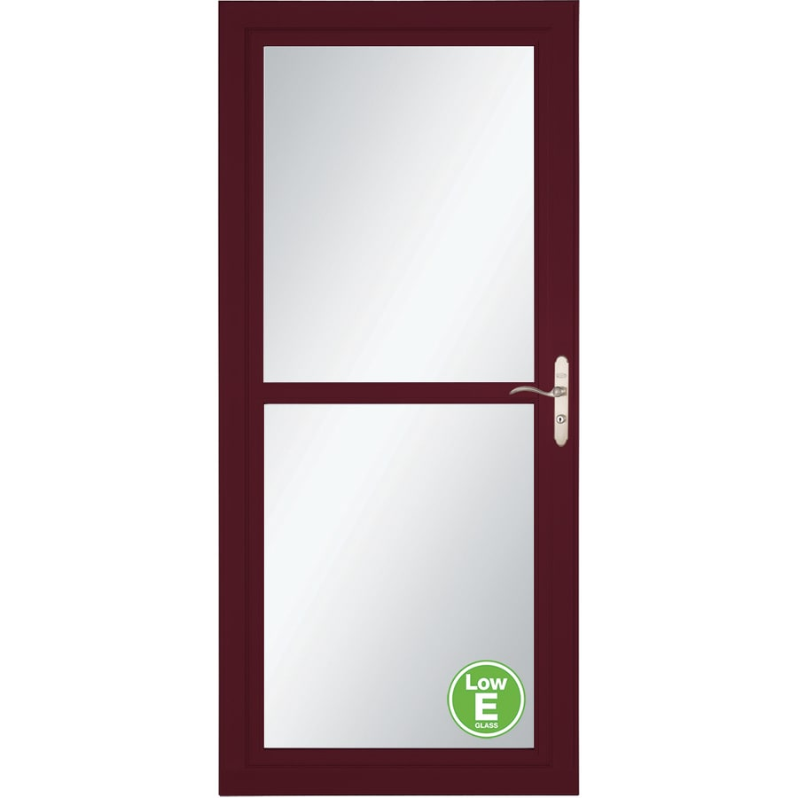 LARSON Tradewind Selection Cranberry Full-View Low-E Single Paned Glass Retractable Storm Door (Common: 32-in x 81-in; Actual: 31.75-in x 79.75-in)