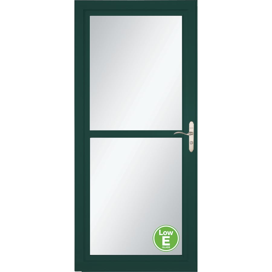 LARSON Tradewind Selection Green Full-View Aluminum Storm Door with Retractable Screen (Common: 32-in x 81-in; Actual: 31.75-in x 79.75-in)