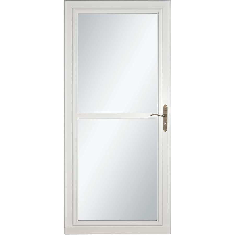 LARSON Tradewind Selection White Full-View Aluminum Retractable Screen Storm Door (Common: 36-in x 81-in; Actual: 35.75-in x 79.75-in)