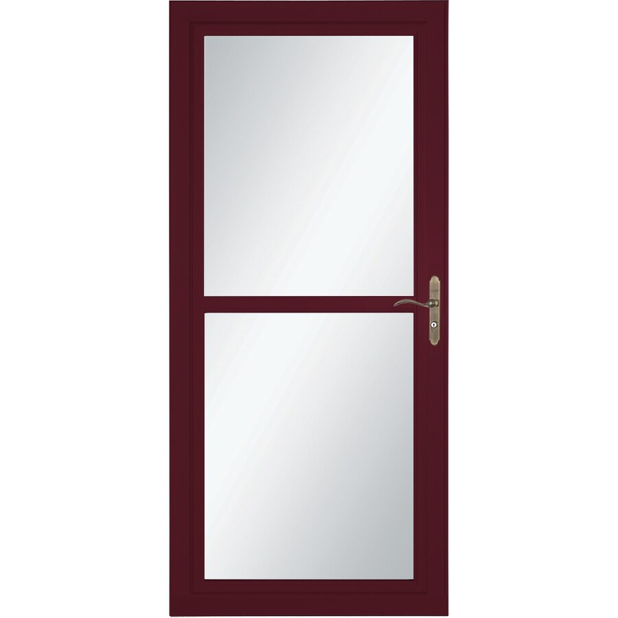 LARSON Tradewind Selection Cranberry Full-View Tempered Glass Retractable Storm Door (Common: 36-in x 81-in; Actual: 35.75-in x 79.75-in)