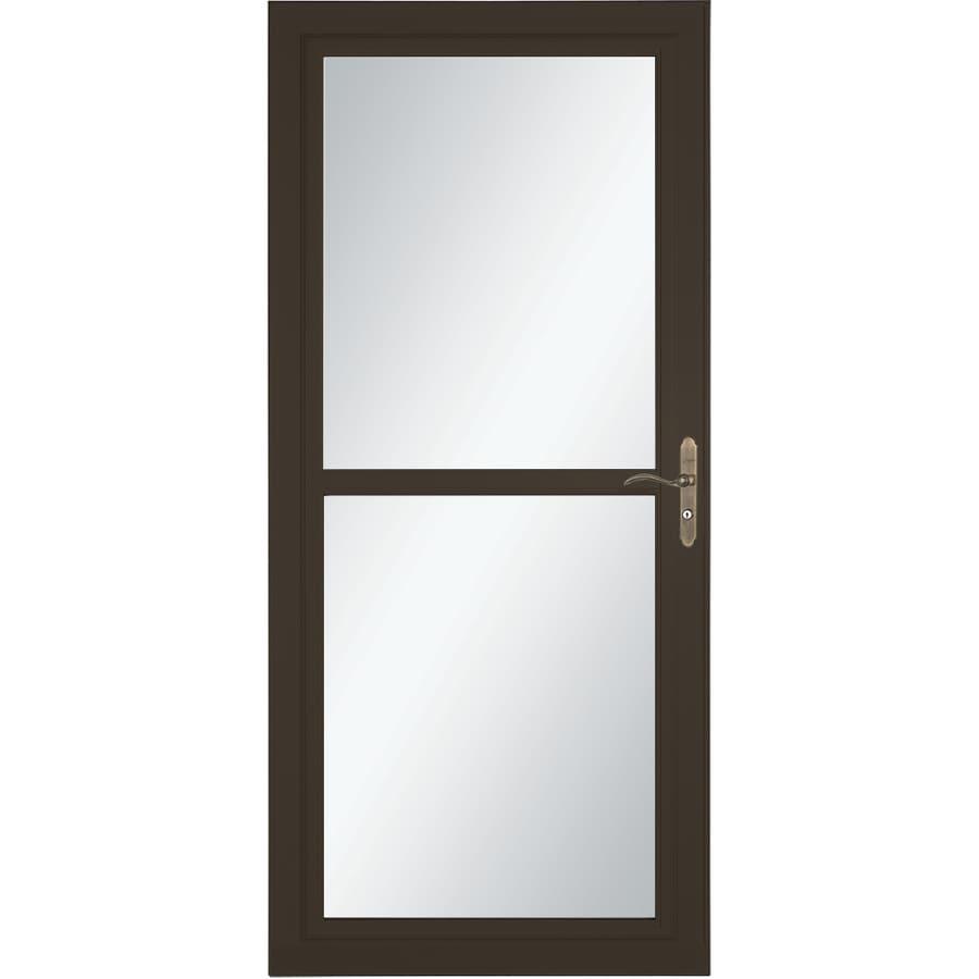 LARSON Tradewind Selection Brown Full-View Aluminum Storm Door with Retractable Screen (Common: 32-in x 81-in; Actual: 31.75-in x 79.75-in)