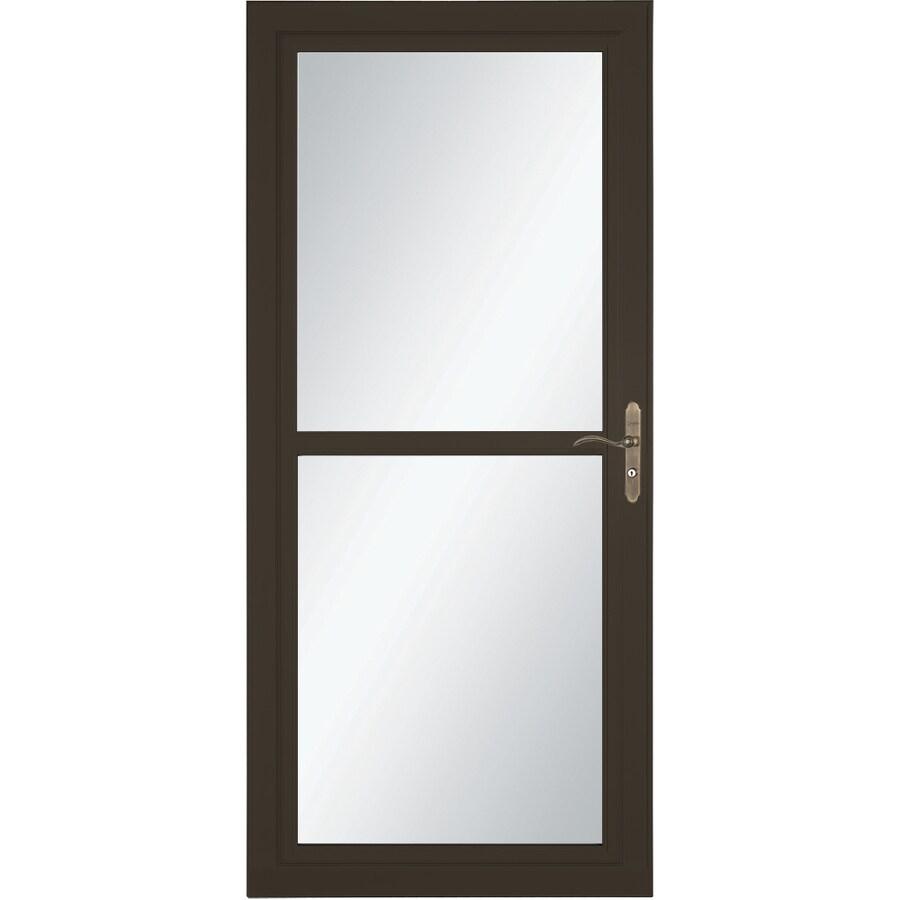 LARSON Tradewind Selection Brown Full-View Tempered Glass Retractable Storm Door (Common: 32-in x 81-in; Actual: 31.75-in x 79.75-in)