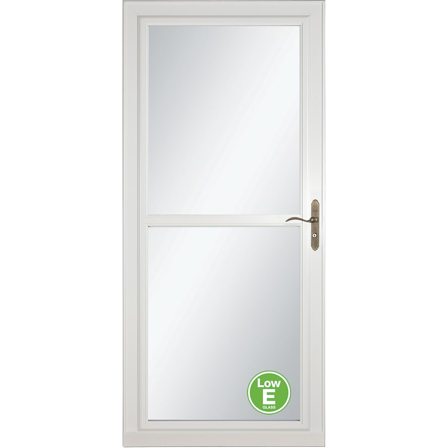 LARSON Tradewinds Low-E White Full-View Aluminum Storm Door with Retractable Screen (Common: 36-in x 81-in; Actual: 35.75-in x 79.75-in)