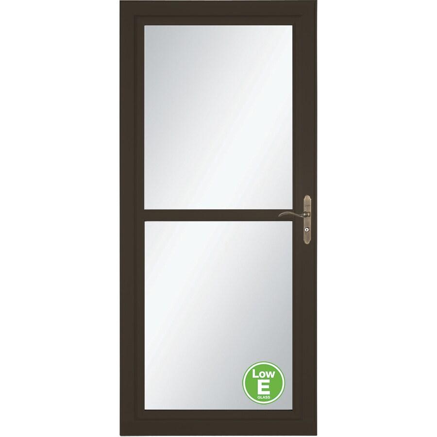 LARSON Tradewinds Low-E Brown Full-View Aluminum Storm Door with Retractable Screen (Common: 36-in x 81-in; Actual: 35.75-in x 79.75-in)