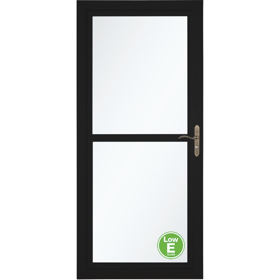 Shop larson tradewinds low e black full view aluminum for Disappearing screen doors lowes