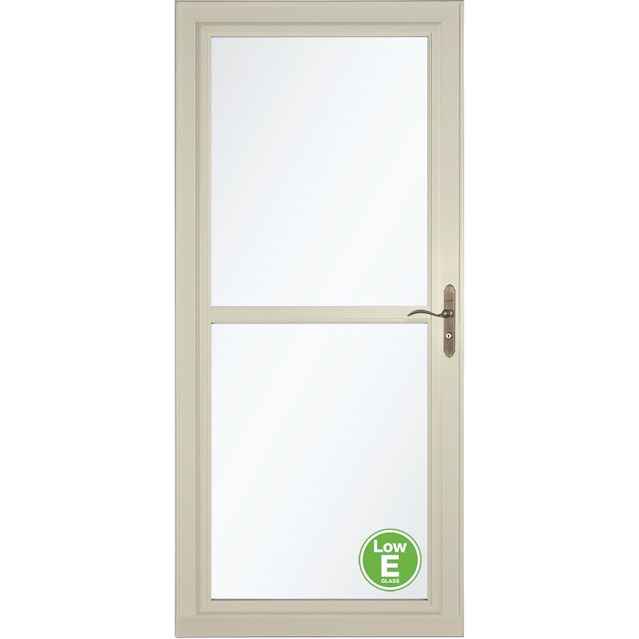 LARSON Tradewind Selection Almond Full-View Low-E Single Paned Glass Retractable Storm Door (Common: 32-in x 81-in; Actual: 31.75-in x 79.75-in)