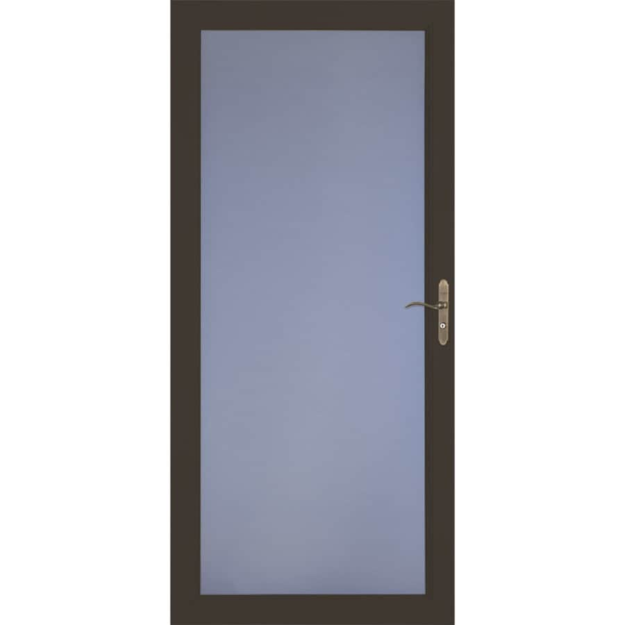 LARSON Signature Classic Brown Full-View Aluminum Standard Storm Door (Common: 32-in x 81-in; Actual: 31.75-in x 79.75-in)