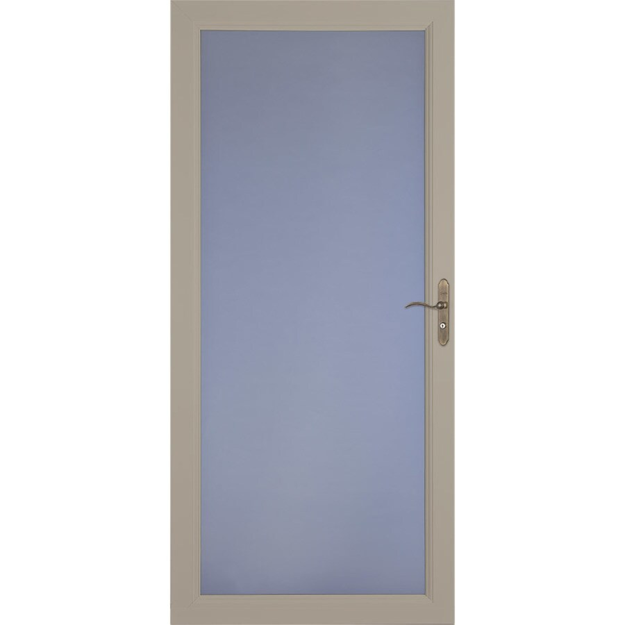 LARSON Signature Selection Sandstone Full-View Tempered Glass Fully Interchangeable Storm Door (Common: 32-in x 81-in; Actual: 31.75-in x 79.75-in)