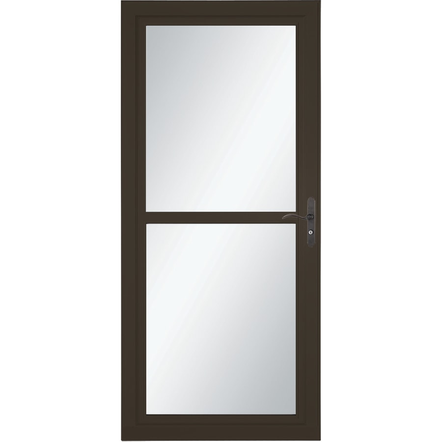 LARSON Tradewind Selection Brown Full-View Aluminum Retractable Screen Storm Door (Common: 36-in x 81-in; Actual: 35.75-in x 79.75-in)
