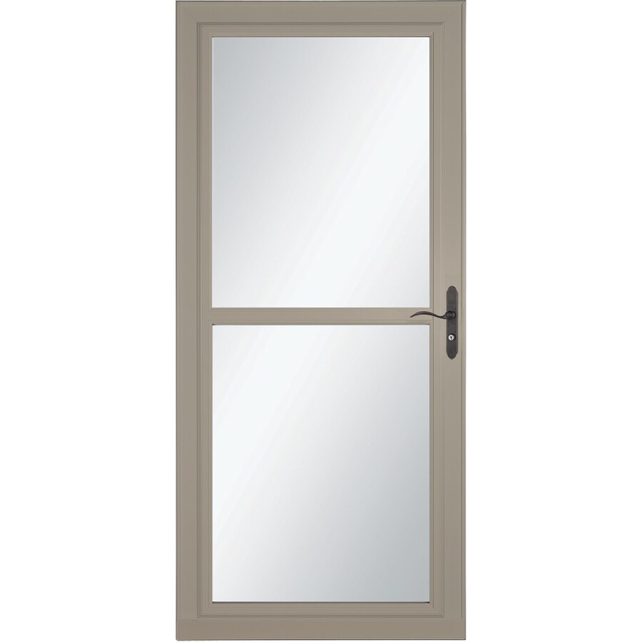 LARSON Tradewind Selection Sandstone Full-View Tempered Glass Retractable Storm Door (Common: 32-in x 81-in; Actual: 31.75-in x 79.75-in)