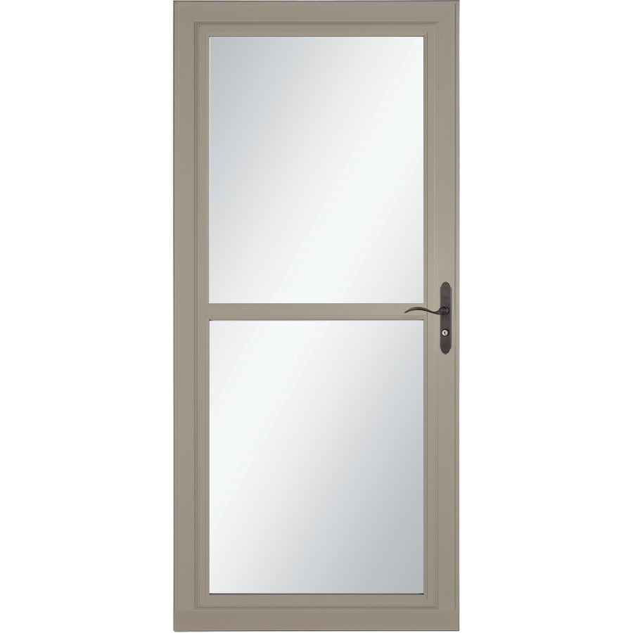 LARSON Tradewind Selection Sandstone Full-View Tempered Glass Retractable Storm Door (Common: 36-in x 81-in; Actual: 35.75-in x 79.75-in)